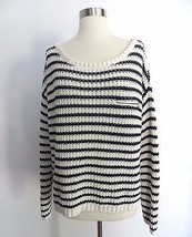 Tommy Hilfiger fits size XL navy blue ivory striped knit thick heavy sweater  - $54.99