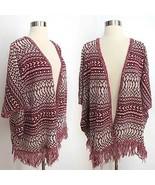 NWT size SMALL red white tribal print boho poncho knit fringe cardigan s... - $49.99
