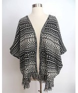 NWT size SMALL black white tribal print boho poncho knit fringe cardigan... - $66.35 CAD