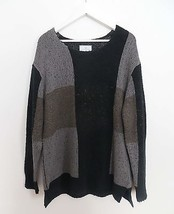 NWT Urban Outfitters men's size LARGE black gray color block knit sweater - $59.99