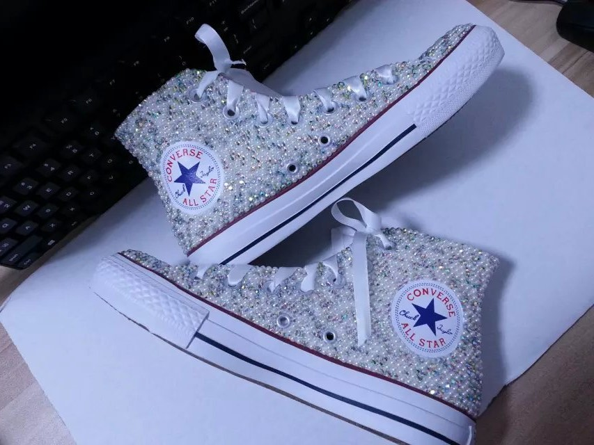 sparkle bridal sneaker shoes high-top wedding rhinestone converse prom shoes