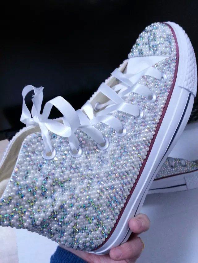 sparkle bridal sneaker shoes high-top wedding rhinestone converse prom shoes image 2
