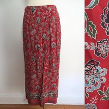 Talbots size 6 red floral print long full-length overlapping skirt - $34.99