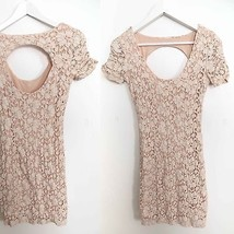 Urban Outfitters size SMALL peach floral lace print bodycon dress knee l... - £33.83 GBP