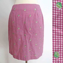 Talbots Petites size 8 lime embroidery knee length skirt in red check print EUC - $29.99