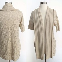Forever 21 size SMALL creme crochet knit open cardigan sweater with pockets - $31.99