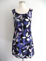 H&M purple floral leaves print sleeveless knee-length shift dress size 6 - $25.99