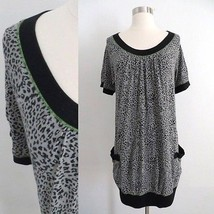 DKNY size MEDIUM black gray cheetah animal print knee length dress short... - $34.99