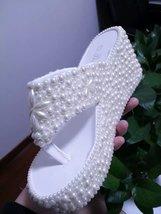 Wedge Flip Flips Bridal Wedding Sandals ivory Pearl Flower Prom Shoes Br... - $85.00