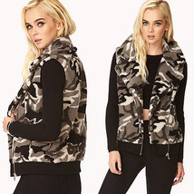 NWT F21 size LARGE gray black camouflage pattern faux shearling vest ful... - $49.99