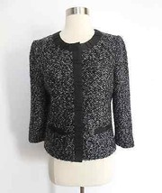 Rafaella size 6 black white marled shaggy knit button down blazer career... - $34.99