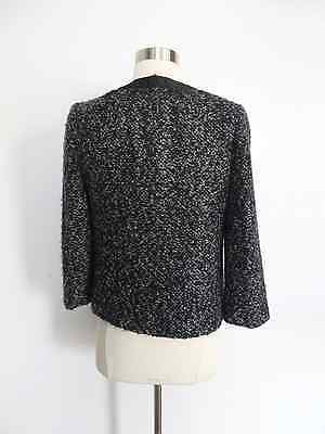 Rafaella size 6 black white marled shaggy knit button down blazer career evening