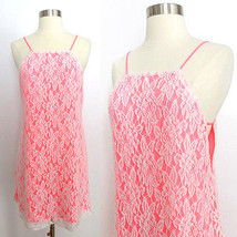 NEW NWT Urban Outfitters neon pink white floral lace sleeveless dress sz... - £32.11 GBP