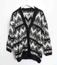 Black white tribal southwestern geometric thick cardigan sweater mens sz... - $44.99