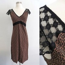 NEW Urban Outfitters leopard print long dress sz SMALL lace details empi... - £35.68 GBP