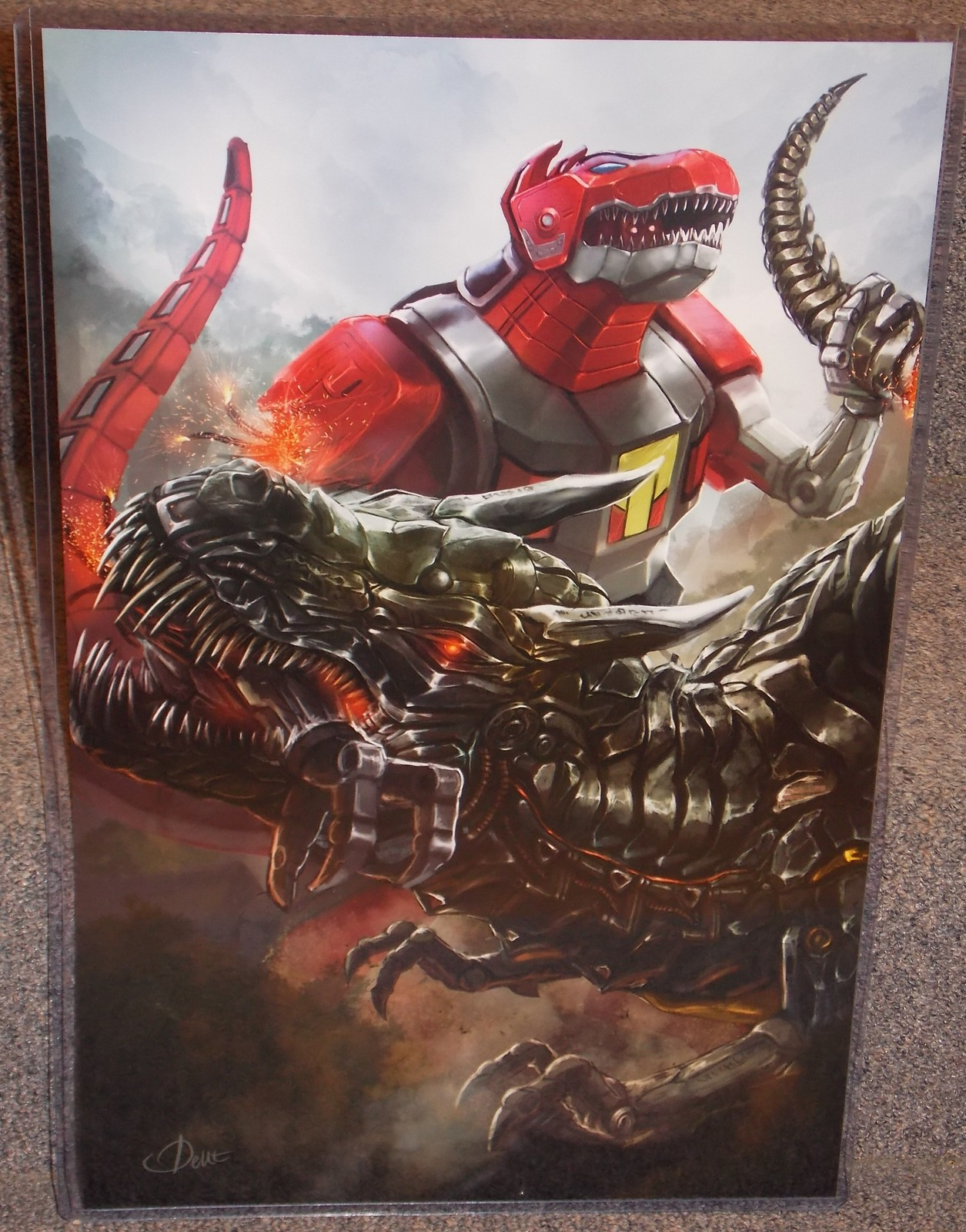Primary image for Power Rangers Dinozord vs Transformers Grimlock Glossy Print 11 x 17 In Sleeve