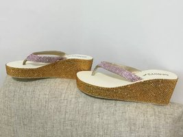 Bridal Wedge Flip Flips Gold Pink Swarovski Wedding Sandals Bridesmaid Shoes image 2