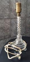 Vintage Pressed Glass Lamp Base Boudoir Bedroom Clear Original Wiring Te... - $43.49