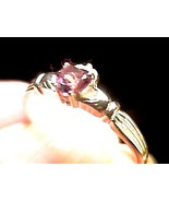 Russian Alexandrite Ring 6 irish CLADDAGH SILVER  color change purple blue - $51.49