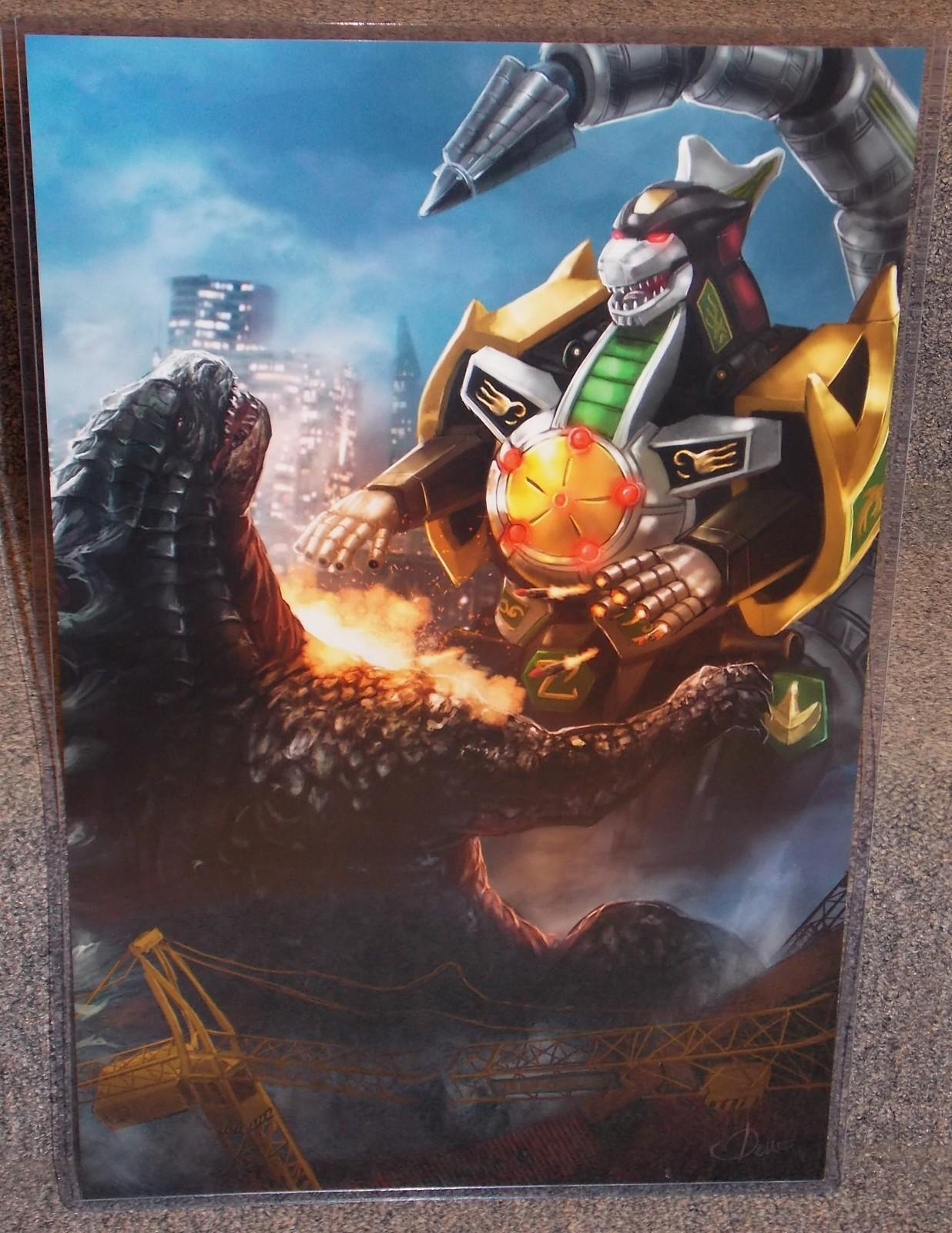Godzilla vs Power Rangers Dragonzord Glossy Print 11 x 17 In Hard Plastic Sleeve