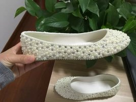 Ivory Bridal Ballet Flats Shoes Pearl&Crystal Women Slippers Wedding Flats Shoes - $95.00