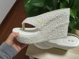 "Wedge Flip Flips Bridal Wedding 4"" Sandals Shoes Prom Shoes Bridesmaid flipflops - $85.00"