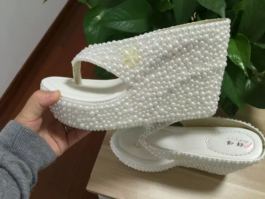 "Wedge Flip Flips Bridal Wedding 4"" Sandals Shoes Prom Shoes Bridesmaid flipflops image 2"