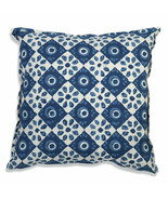 Farmhouse PIPER COTTON THROW PILLOW Country White Blue Floral Sofa Cushi... - £28.34 GBP