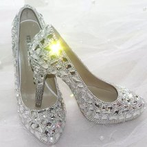 Clean Glitter Wedding Shoes Classic Pumps Bridal Heels Cinderella Crysta... - $145.00