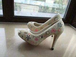 Wedding Shoes Ivory Pearl with pink silver Cute Bridal Shoes Custom Prom Heels - $145.00