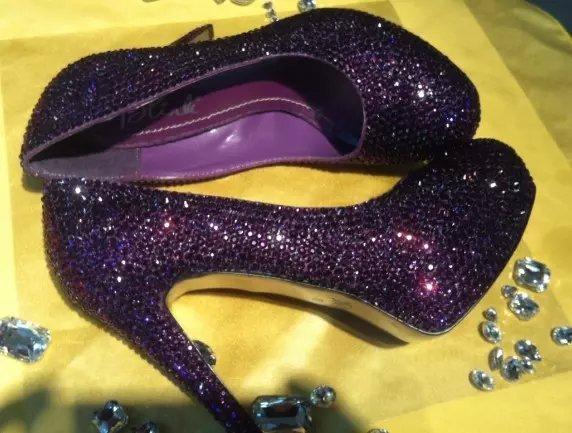 Dark Purple Crystal Wedding Shoes Violet Bridal Heels Closed Toe Prom Shoes