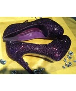 Dark Purple Crystal Wedding Shoes Violet Bridal Heels Closed Toe Prom Sh... - $125.00
