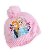 Disney Store Frozen Elsa & Anna Pink Embroidered Knit Hat - Size XS/S  - New - $14.99