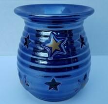 Yankee Candle Wax Tart Burner Oil Warmer Iridescent Blue Ceramic Gold St... - $22.99
