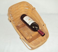 Longaberger Vegetable Sleigh Basket w/Wooden Wine Display Racks ~ Signed... - $88.15