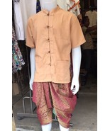Mens Thai TRADITIONAL Shirt Chinese Button Short Sleeve Costume Festival... - $25.73