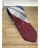 Christian Dior Cravates Skinny Striped Red Navy Blue Neck Tie Polyester - $9.89