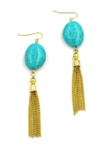 Women new gold aqua stone hanging chain hook pierced earrings - $24.36 CAD
