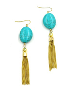 Women new gold aqua stone hanging chain hook pierced earrings - $26.14 CAD