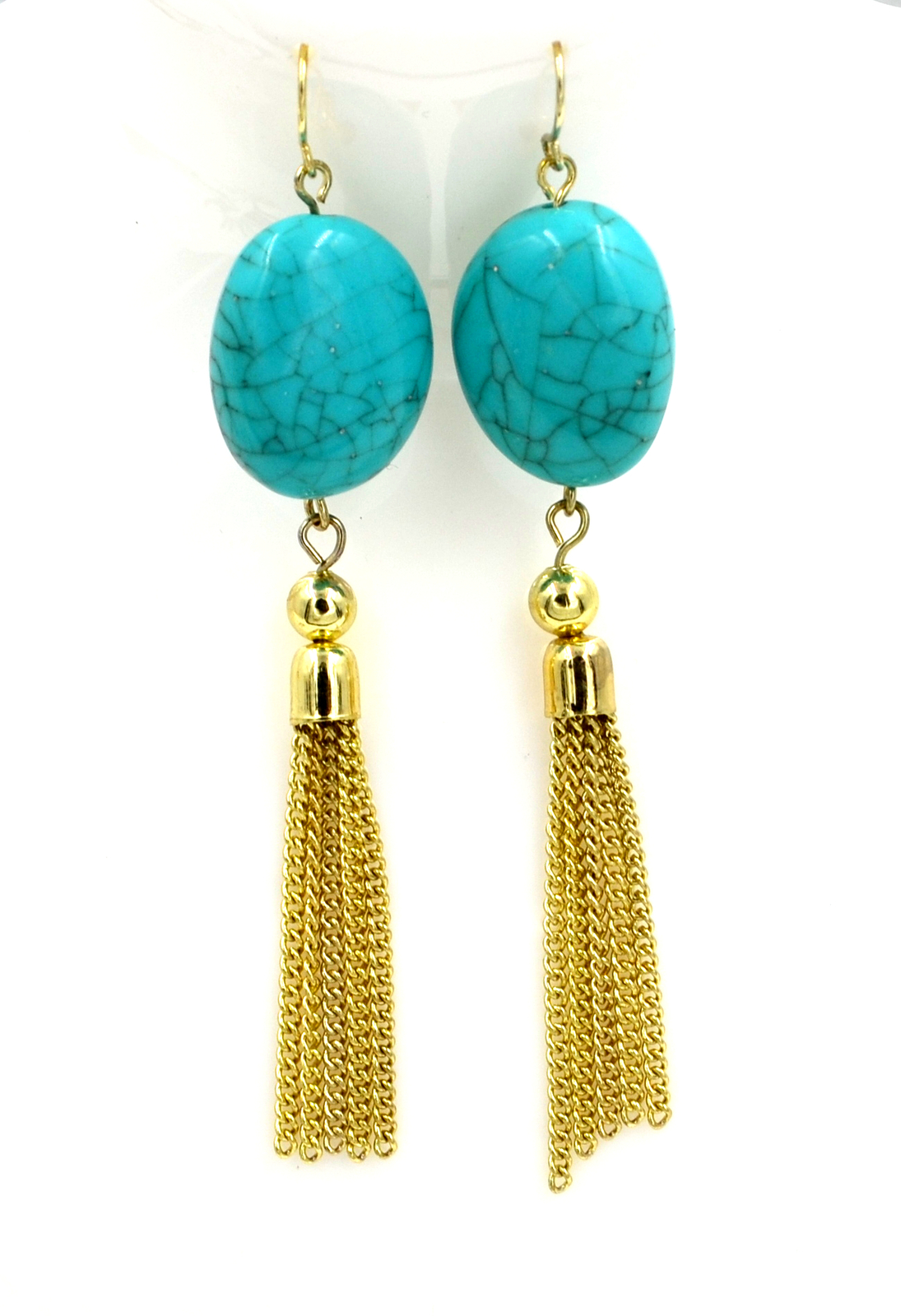 Women new gold aqua stone hanging chain hook pierced earrings