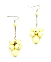 Women new ivory white cluster bead drop hook pierced earrings - $23.08 CAD