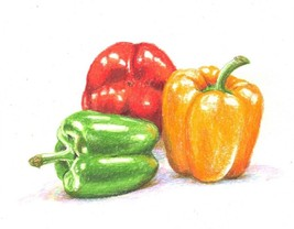 BELL PEPPERS - original drawing by Akimova, food, still life,colored pencil - $11.00