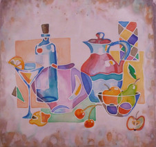 STILL LIFE: Original silk paintinting by Akimova,glass,apple,cherry, pit... - $25.00