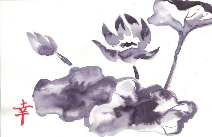 Akimova: LOTUS FLOWER black&white,animal, ink, chineese brush