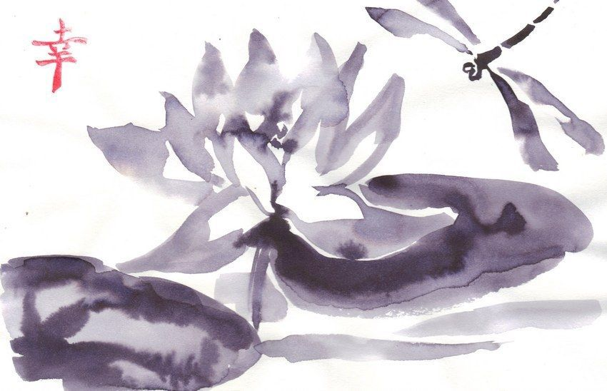 Akimova: LOTUS FLOWER AND DRAGONFLY black&white,animal, ink, chineese brush
