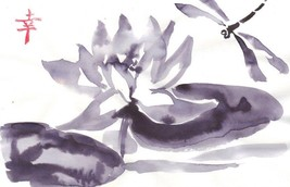 Akimova: LOTUS FLOWER AND DRAGONFLY black&white,animal, ink, chineese brush - $7.00