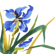 "Akimova: IRIS FLOWER watercolor, chineese brush, 5.5""x6"" - $6.00"