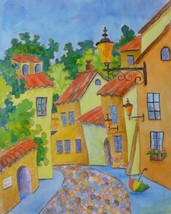"""SUMMER IN TOWN: Original fabric paintinting by Akimova,cityscape, 19""""x15"""" - $16.00"""