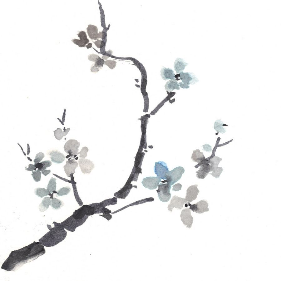 "Akimova: JAPANESE CHERRY FLOWER watercolor, chineese brush, 5.5""x6"""