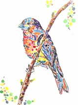 "Akimova: BIRD , watercolor and pencils,garden, 4.5""x6"" - $8.00"